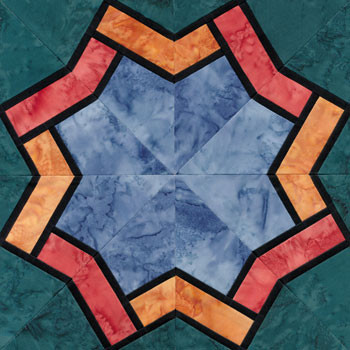 Stained Glass Eight Pointed Star Paper Pieced Quilt Block Pattern