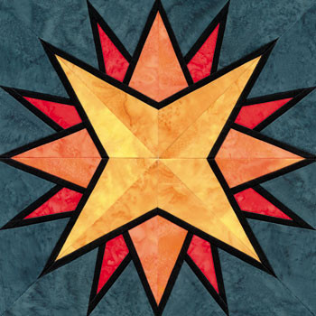 Stained Glass Explorer's Compass Paper Pieced Quilt Block Pattern
