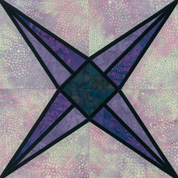 Stained Glass Fastigiate Paper Pieced Quilt Block Pattern