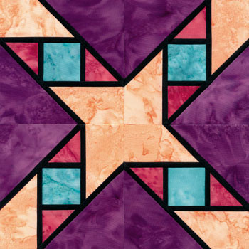 Stained Glass Garret Windows Paper Pieced Quilt Block Pattern