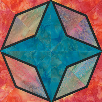 Stained Glass Glowing Star Paper Pieced Quilt Block Pattern