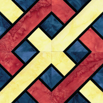 Stained Glass Kentucky Chain Paper Pieced Quilt Block Pattern