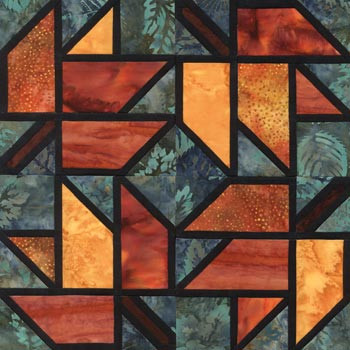 Stained Glass Maple Leaf Paper Pieced Quilt Block Pattern