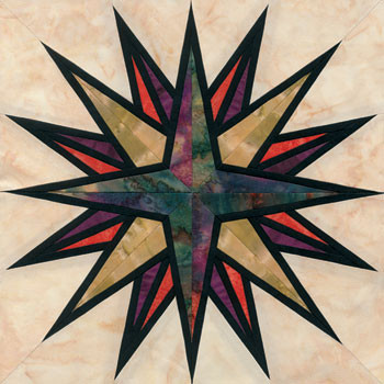 Stained Glass Mariner's Compass Paper Pieced Quilt Block Pattern