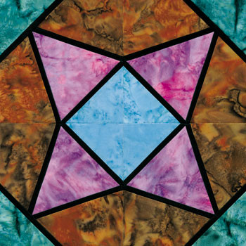 Stained Glass Milkmaid's Star Paper Pieced Quilt Block Pattern