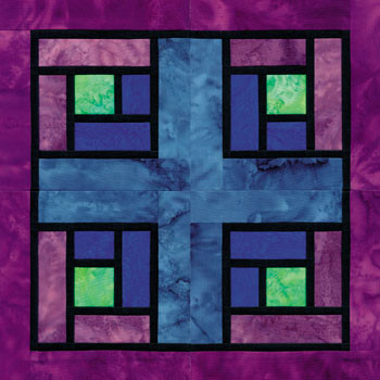 Stained Glass Modern Squares Paper Pieced Quilt Block Pattern