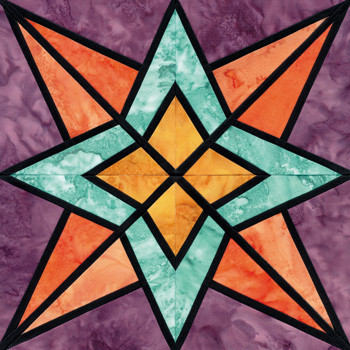 Stained Glass Night and Day Paper Pieced Quilt Block Pattern