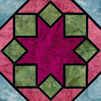 Stained Glass Ohio Star  Paper Pieced Quilt Block Pattern