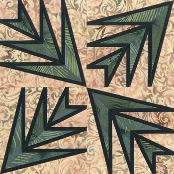 Stained Glass Palm Leaf Paper Pieced Quilt Block Pattern
