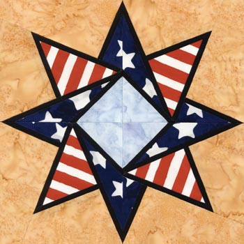 Stained Glass Patriot's Star Paper Pieced Quilt Block Pattern