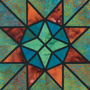 Stained Glass Provence Star Paper Pieced Quilt Block Pattern