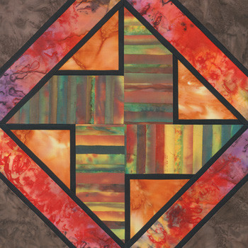 Stained Glass Quern Paper Pieced Quilt Block Pattern