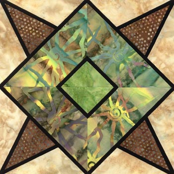 Stained Glass Quetzal Feathers Paper Pieced Quilt Block Pattern