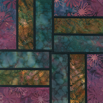 Stained Glass Rail Fence Paper Pieced Quilt Block Pattern