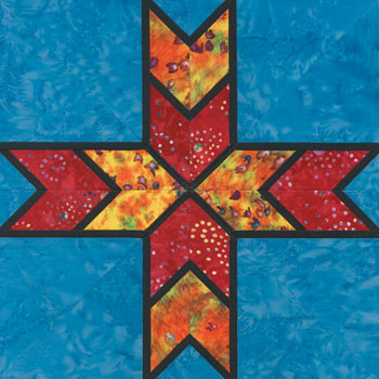 Stained Glass Sebastian's Star Paper Pieced Quilt Block Pattern