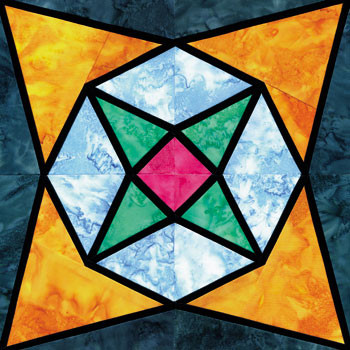 Stained Glass Sparkling Crystals Paper Pieced Quilt Block Pattern