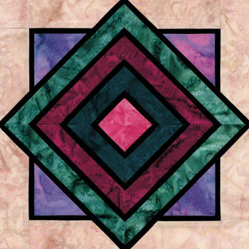 Stained Glass Stacked Crates Paper Pieced Quilt Block Pattern