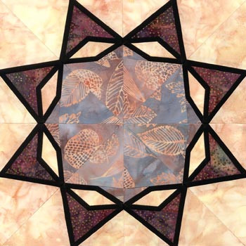 Stained Glass Standing Wave Paper Pieced Quilt Block Pattern