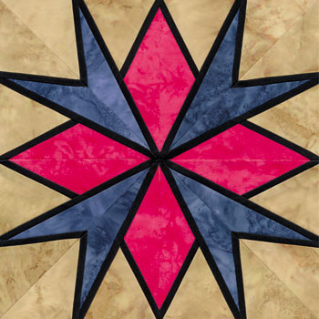 Stained Glass Stars Over Tejas Paper Pieced Quilt Block Pattern