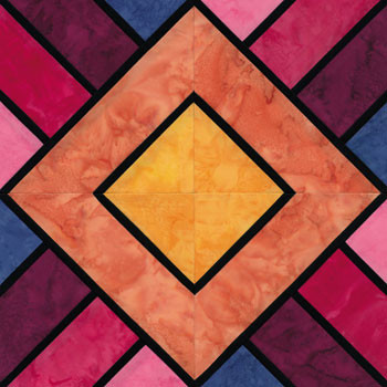 Stained Glass Sunrise Paper Pieced Quilt Block Pattern