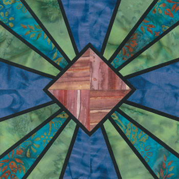 Stained Glass Sunshine Fan Paper Pieced Quilt Block Pattern