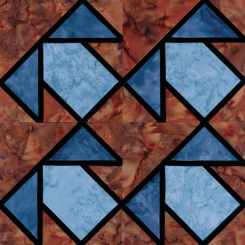 Stained Glass T Quartet Paper Pieced Quilt Block Pattern