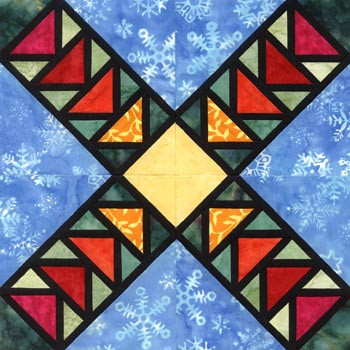 Stained Glass Take Off Paper Pieced Quilt Block Pattern