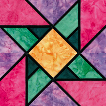 Stained Glass To Market Paper Pieced Quilt Block Pattern