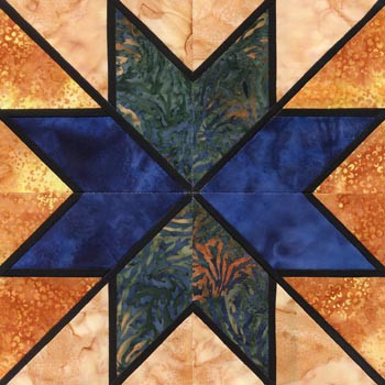 Stained Glass Tumbling Star Paper Pieced Quilt Block Pattern