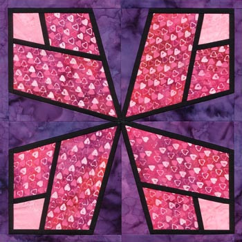 Stained Glass Valley of Love Paper Pieced Quilt Block Pattern