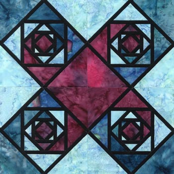 Stained Glass Virginia Reel Paper Pieced Quilt Block Pattern