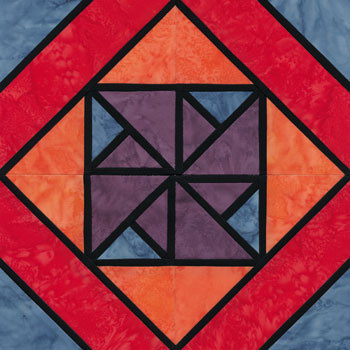 Stained Glass Waterwheel Paper Pieced Quilt Block Pattern