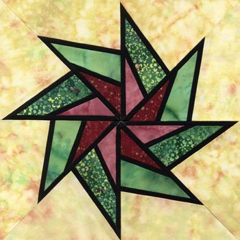 Stained Glass Whirling Star Paper Pieced Quilt Block Pattern