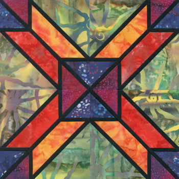 Stained Glass Yard Line Paper Pieced Quilt Block Pattern