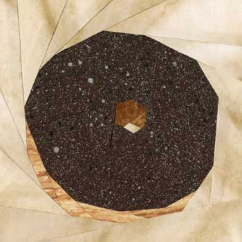 Chocolate Donut Paper Pieced Quilt Block Pattern