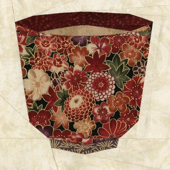 Japanese Teacup Paper Pieced Quilt Block Pattern