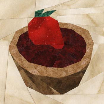 Strawberry Cupcake Paper Pieced Quilt Block Pattern