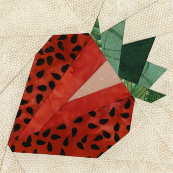 Strawberry Paper Pieced Quilt Block Pattern