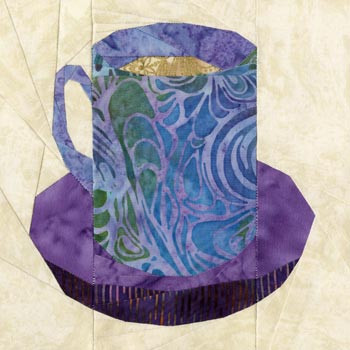Tall Teacup Paper Pieced Quilt Block Pattern