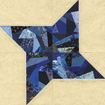 Crazy Pinwheel Paper Pieced Quilt Block Pattern