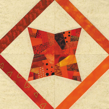Crazy Rosebud Paper Pieced Quilt Block Pattern