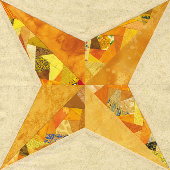 Crazy Shimmering Star Paper Pieced Quilt Block Pattern