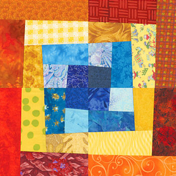 Crooked Log Cabin Paper Pieced Quilt Block Pattern