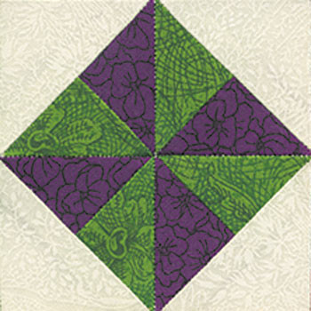 Pinwheel in a Square Paper Pieced Quilt Block Pattern