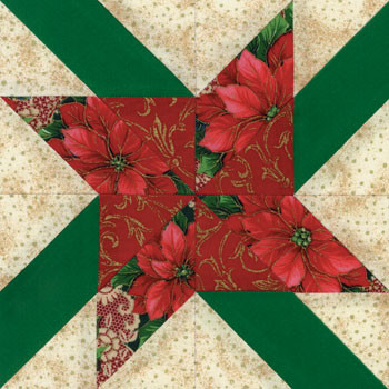 Poinsettia Paper Pieced Quilt Block Pattern