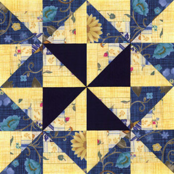Winding Roads Pinwheels Paper Pieced Quilt Block Pattern