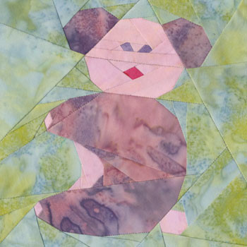 Baby Teddy Bear Paper Pieced Quilt Block Pattern