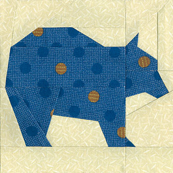 Brown Bear Paper Pieced Quilt Block Pattern
