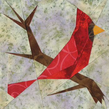 Cardinal Paper Pieced Quilt Block Pattern