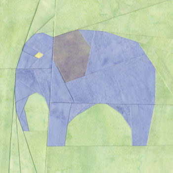 Elephant Paper Pieced Quilt Block Pattern